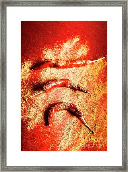 Indian Food Seasoning And Spices Framed Print