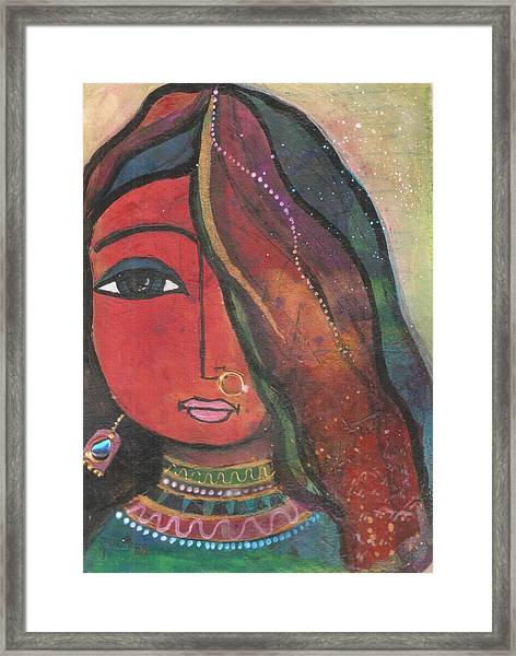 Indian Girl With Nose Ring Framed Print