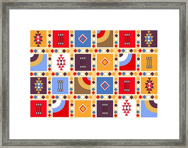 Indian Mexico Pattern On The Carpet Framed Print