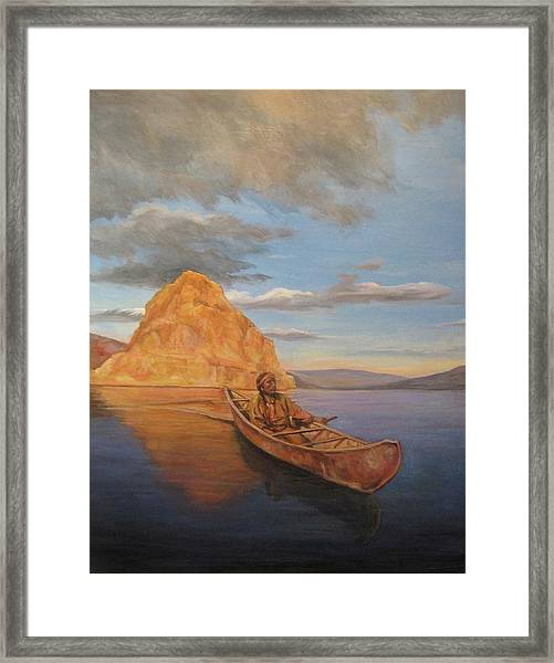 Indian On Lake Pyramid Framed Print