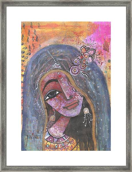 Indian Rajasthani Woman With Colorful Background  Framed Print