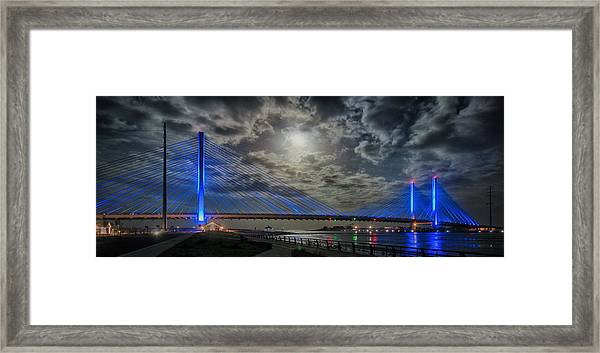 Indian River Bridge Moonlight Panorama Framed Print