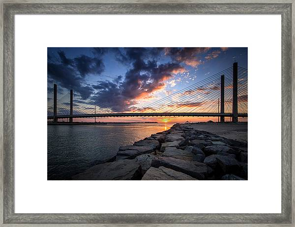 Indian River Inlet And Bay Sunset Framed Print