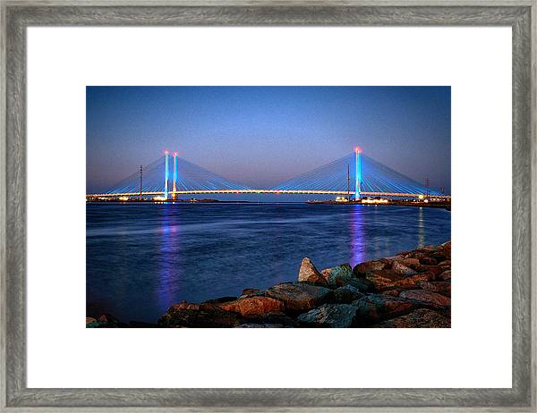 Indian River Inlet Bridge Twilight Framed Print