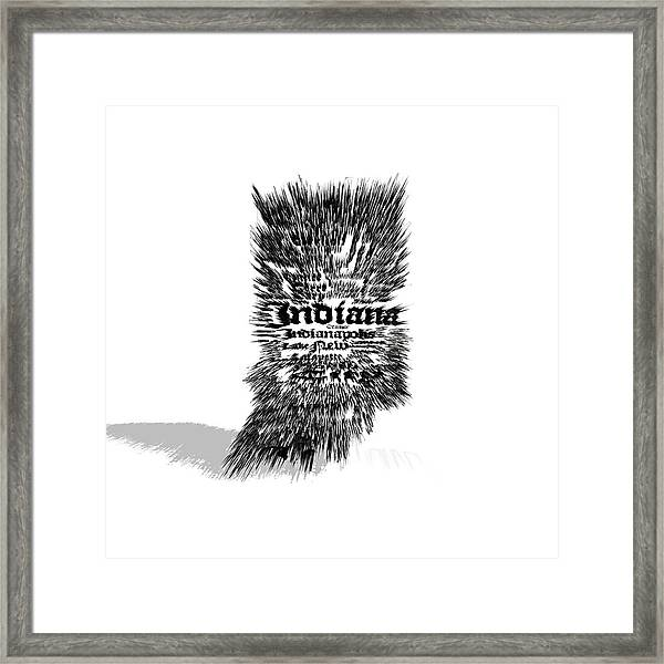 Indiana Typographic Map 5a Framed Print