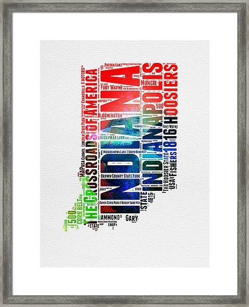 Indiana Watercolor Word Cloud Map  Framed Print
