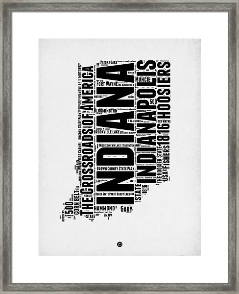 Indiana Word Cloud Map 2 Framed Print