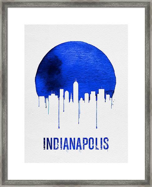 Indianapolis Skyline Blue Framed Print