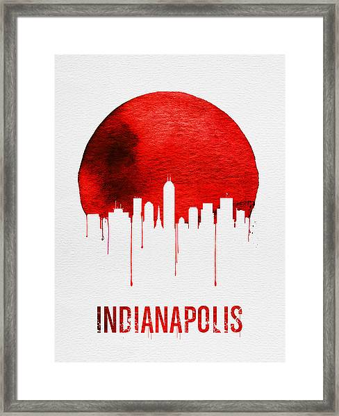 Indianapolis Skyline Red Framed Print