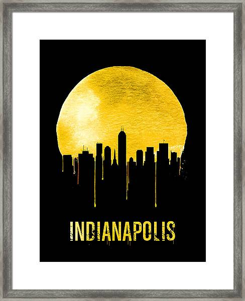 Indianapolis Skyline Yellow Framed Print