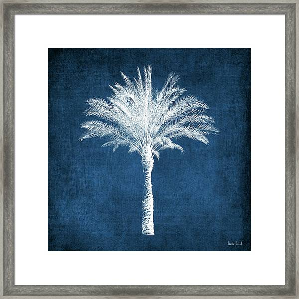 Indigo And White Palm Tree- Art By Linda Woods Framed Print