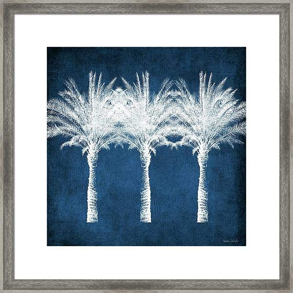 Indigo And White Palm Trees- Art By Linda Woods Framed Print