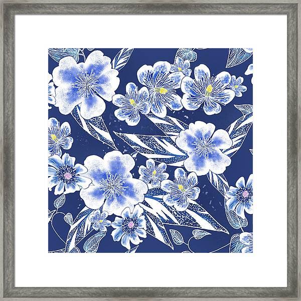 Indigo Batik Tile 2 - Ginger Leaves Framed Print