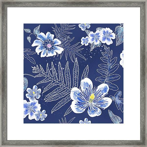 Indigo Batik Tile 3 - Laua'e Framed Print