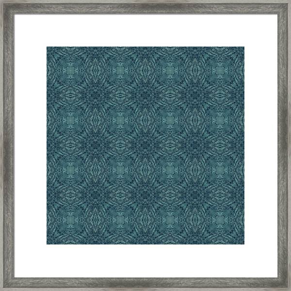 Indigo Diamond Cross Pattern 24in Framed Print