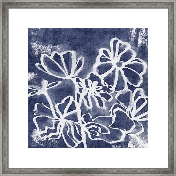 Indigo Floral 3- Art By Linda Woods Framed Print