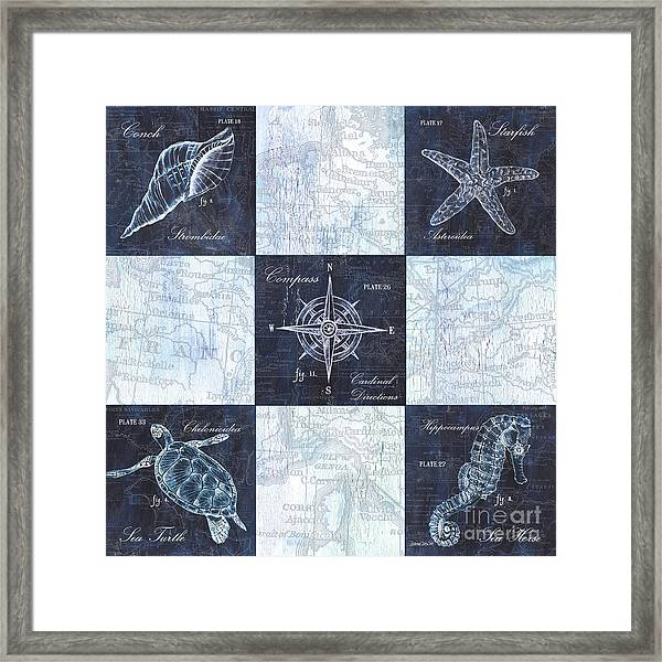 Indigo Nautical Collage Framed Print