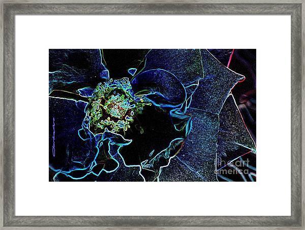 Indigo Neon Rose Framed Print