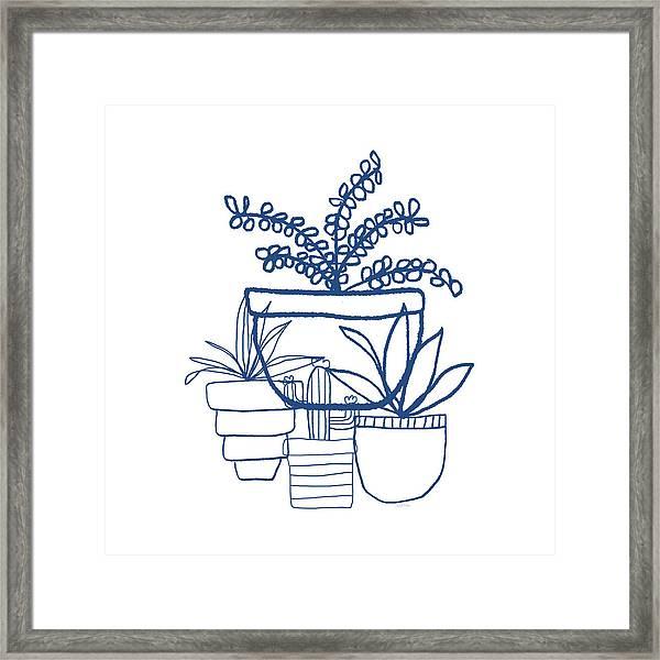 Indigo Potted Succulents- Art By Linda Woods Framed Print