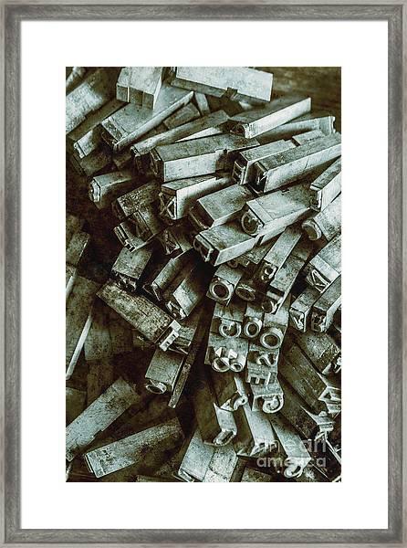 Industrial Letterpress Typeset  Framed Print