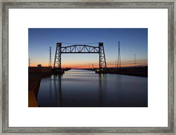 Industrial River Scene At Dawn Framed Print