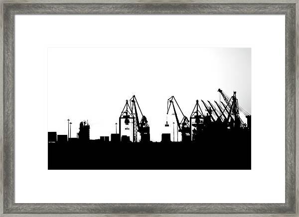Industrial Silhouette In Bw Framed Print by Nikos Stavrakas