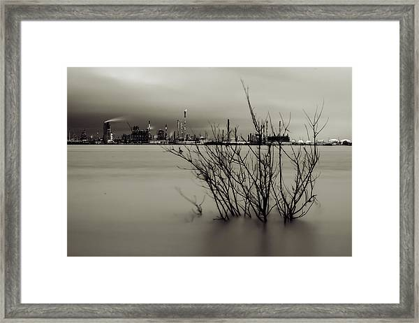 Industry On The Mississippi River, In Monochrome Framed Print