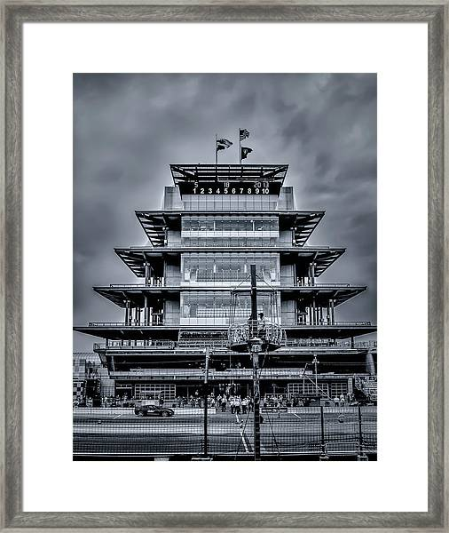 Indy 500 Pagoda - Black And White Framed Print