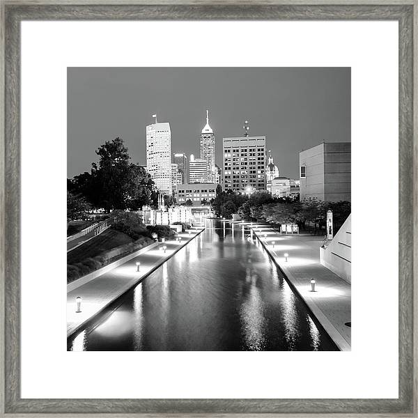 Indy City Skyline - Indianapolis Indiana Black-white 1x1 Framed Print