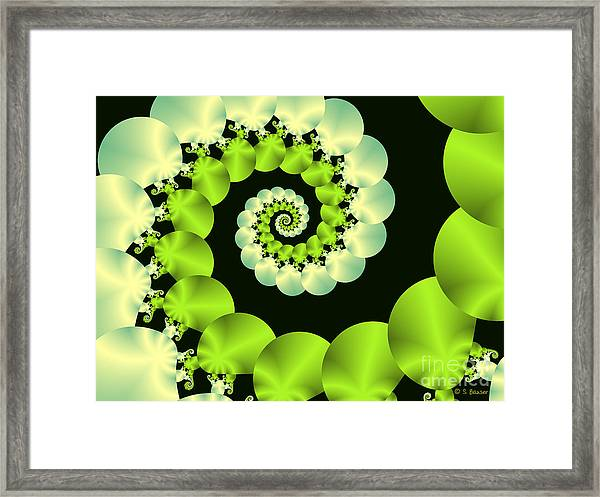 Framed Print featuring the digital art Infinite Chartreuse by Sandra Bauser Digital Art
