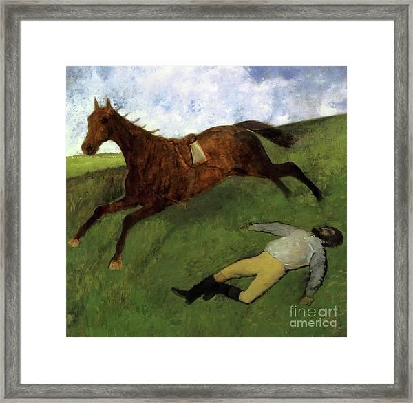 Injured Jockey Framed Print