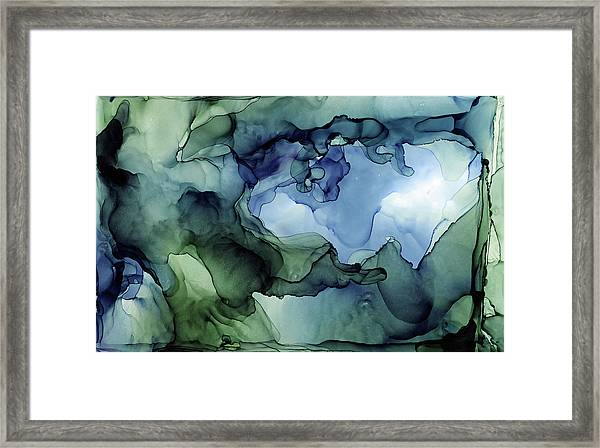 Ink Abstract Painting Blues Greens Framed Print