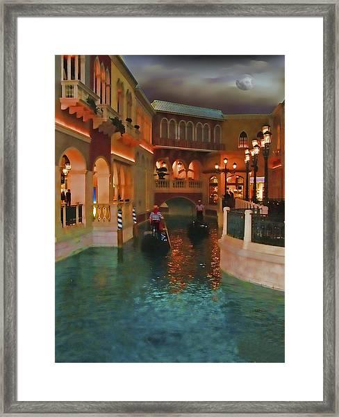 Inside The Venetian Casino Las Vegas Framed Print