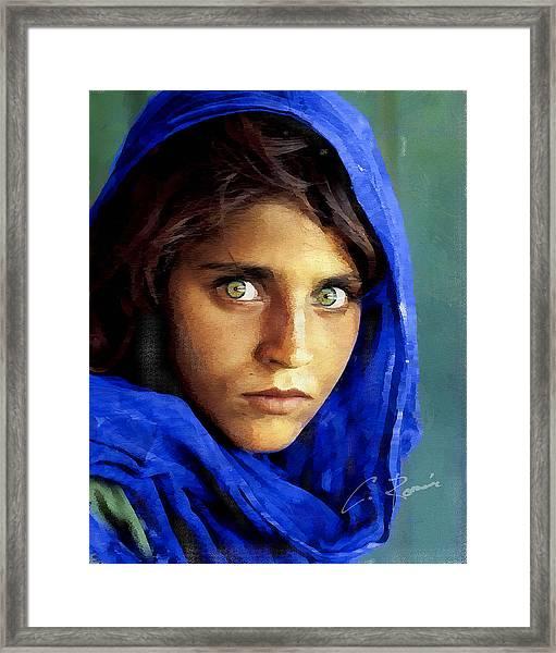 Inspired By Steve Mccurry's Afghan Girl Framed Print
