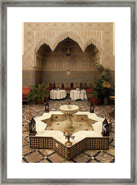 Interior Of A Traditional Riad In Fez Framed Print by PIXELS  XPOSED Ralph A Ledergerber Photography