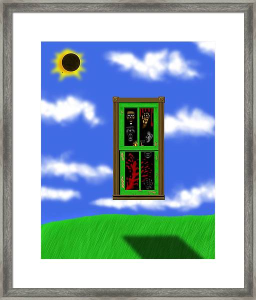 Into The Green Window Framed Print