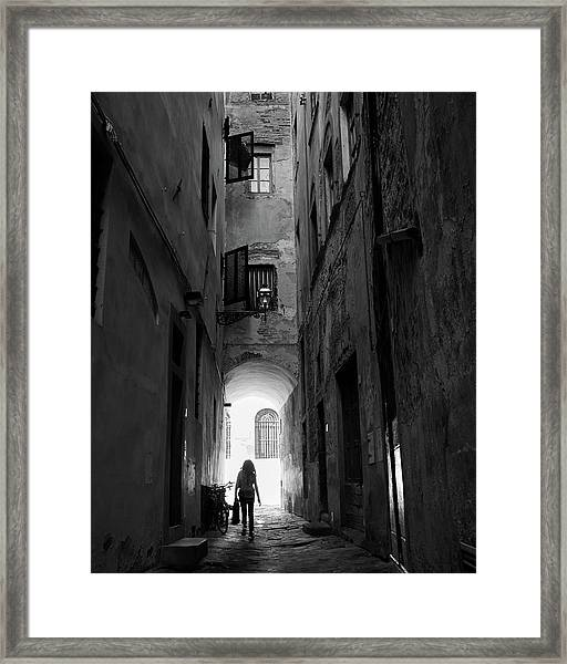 Into The Light, Florence, Italy Framed Print