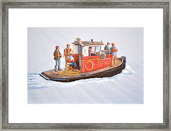 Into The Mist-the Crew Boat Framed Print