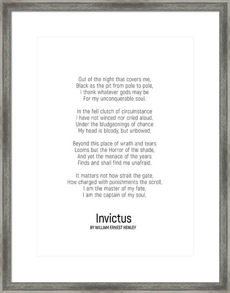 Invictus By William Ernest Henley #minimalist #poem  Framed Print