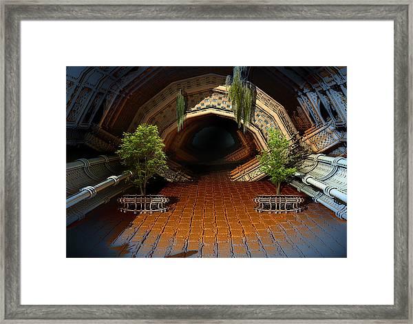 Inviting Dark Tunnel Framed Print