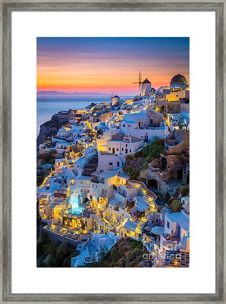 Oia Sunset Framed Print