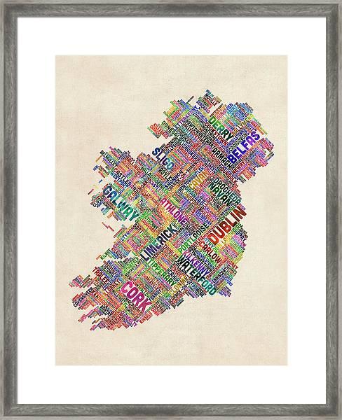 Ireland Eire City Text Map Derry Version Framed Print