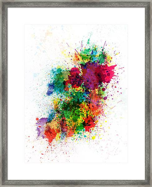 Ireland Map Paint Splashes Framed Print