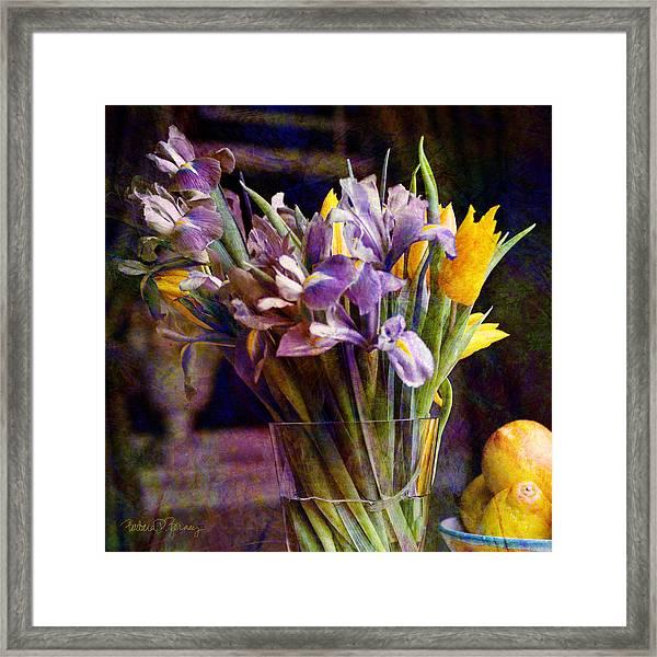 Irises In A Glass Framed Print