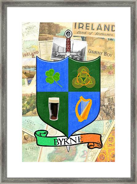 Irish Coat Of Arms - Byrne Framed Print by Mark Tisdale