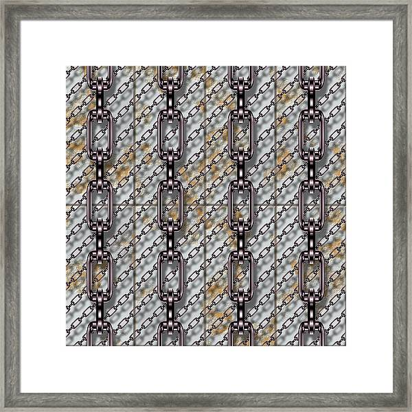 Iron Chains With Metal Panels Seamless Texture Framed Print