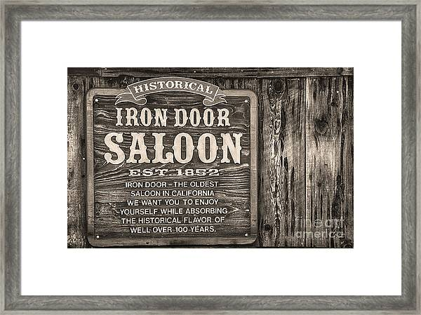 Iron Door Saloon 1852 Framed Print