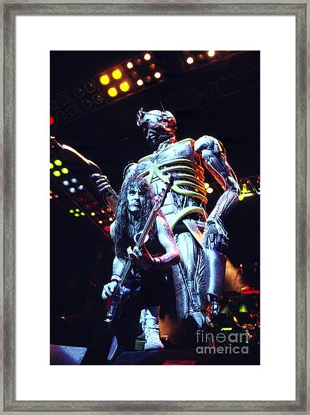 Iron Maiden 1987 Steve Harris And Eddie Framed Print by Chris Walter
