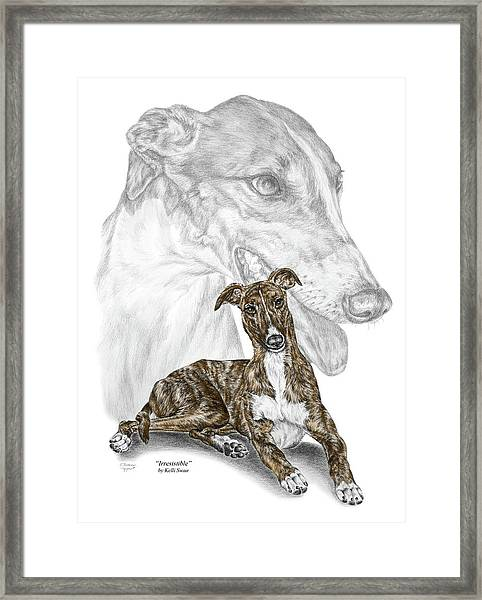 Irresistible - Greyhound Dog Print Color Tinted Framed Print