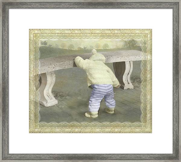 Is Bunny Under The Bench? Framed Print